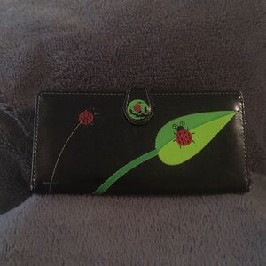 🐞2/$10 Black leather wallet with ladybug design
